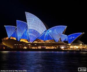 Rompicapo di Teatro Opera di Sydney di notte