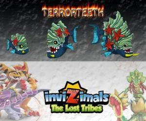 Rompicapo di Terrorteeth, ultima evoluzione. Invizimals Le Tribù Scomparse. Invizimal acquatiche che mangia molto veloce e che morde tutto
