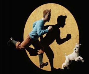 Rompicapo di Tintin con il suo cane Milù esecuzione