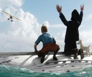 Rompicapo di Tintin, il capitano Haddock e Milù su una barca, dopo un naufragio