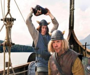 Rompicapo di Tjure sul punto di rompere un vaso sulla testa del Snorre