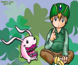 Rompicapo di TK e il suo digimon Tokomon, Takeru Takaishi è il più giovane del gruppo e fratello minore di Matt
