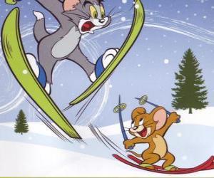 Rompicapo di Tom e Jerry in mezzo alla neve con gli sci