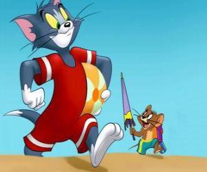 Rompicapo di Tom e Jerry in spiaggia