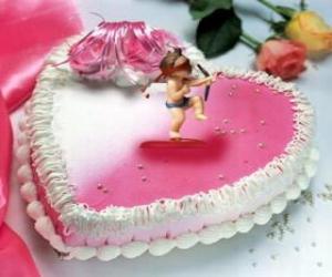 Rompicapo di Torta a forma di cuore e Cupido