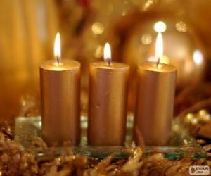 Rompicapo di Tre candele di Natale dorato