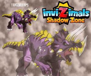 Rompicapo di Triceratopo. Invizimals Le creature ombra. Erbivoro Invizimals con grande forza e coraggio