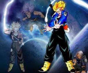 Rompicapo di Trunks è per metà umano e metà Saiyan, Vegeta e il figlio di Bulma e il fratello di Bra. In futuro, l'unico rimasto Saiyajin così come il protettore della terra.