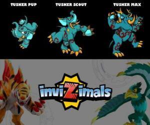 Rompicapo di Tusker in tre fasi Tusker Pup, Tusker Scott e Tusker Max, Invizimals