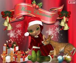 Rompicapo di Un elfo congratulandosi con Natale