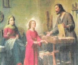 Rompicapo di Un giovane Gesù, di lavoro come un falegname con il suo padre Giuseppe