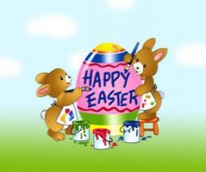Rompicapo di Un paio di coniglietti sono la pittura delle uova per Pasqua