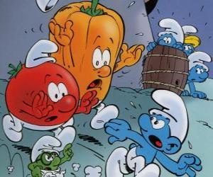 Rompicapo di Un Puffo è inseguito da un pomodoro e pepe