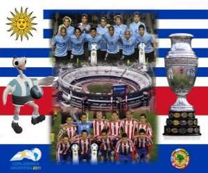 Rompicapo di Uruguay vs Paraguay. Finale Copa America Argentina 2011. 24 luglio Stadio Monumental, Buenos Aires