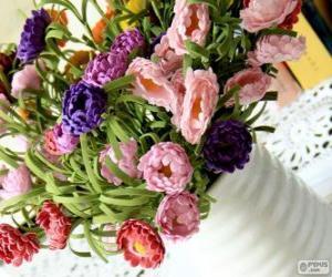 Rompicapo di Vaso con un grande mazzo di fiori