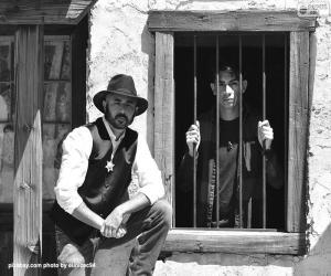 Rompicapo di Vecchio sceriffo con un cappello da cowboy e la sua stella sul petto