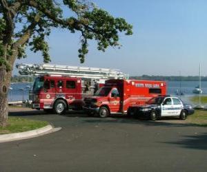 Rompicapo di Veicoli di emergenza del fuoco, ambulanza e polizia