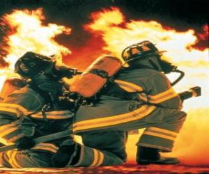 Rompicapo di Vigile del fuoco con un ginocchio sul pavimento e il tubo pronto
