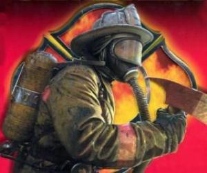Rompicapo di Vigile del fuoco uscendo da una costruzione con l'ascia in mano