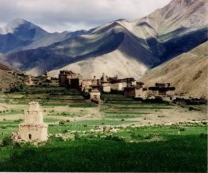 Rompicapo di Villaggio nel paesaggio, in Nepal