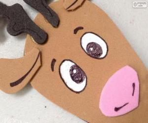 Rompicapo di Volto di una renna di Natale di cartone