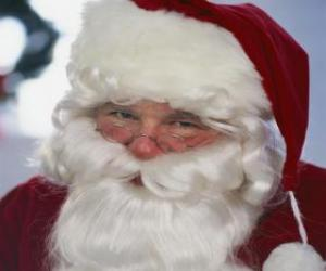 Rompicapo di Volto sorridente di Babbo Natale con la sua lunga barba e il cappello