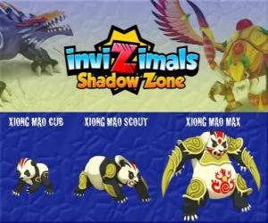 Rompicapo di Xiong Mao Cub, Xiong Mao Scout, Xiong Mao Max. Invizimals Le creature ombra. Questa creatura gigante è il primo custode della tomba dell'imperatore dragone