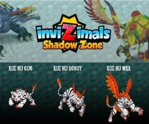 Rompicapo di Xue Hu Cub, Xue Hu Scout, Xue Hu Max. Invizimals Le creature ombra. La tigre bianca del cielo è la quarta guardia della Tomba dell'Imperatore Dragone e il più potente