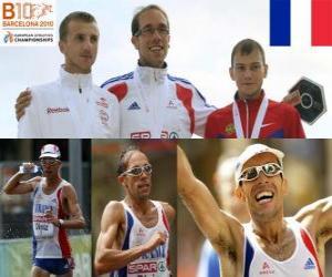 Rompicapo di Yohann Diniz campione di 50 km a piedi, e Sergey Bakulin Grzegorz Sudol (2 ° e 3 °) di atletica leggera Campionati europei di Barcellona 2010