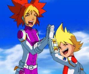 Rompicapo di Yoko e Brett alle loro tute spaziali, sono due dei membri del Team Galaxy