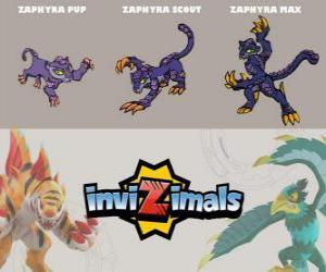 Rompicapo di Zaphyra in tre fasi Zaphyra Pup, Zaphyra Scott e Zaphyra Max, Invizimals