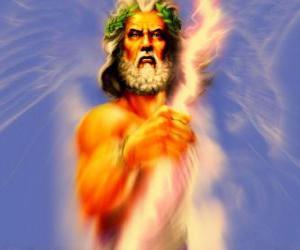 Rompicapo di Zeus, il dio greco del cielo e del tuono e il re di dèi olimpici