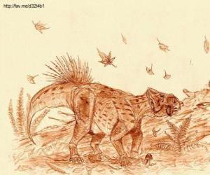 Rompicapo di Zhuchengceratops che ha vissuto alla fine del periodo Cretaceo, circa 75 milioni di anni fa