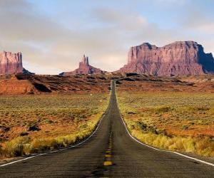 Rompicapo di zona desertica con la strada